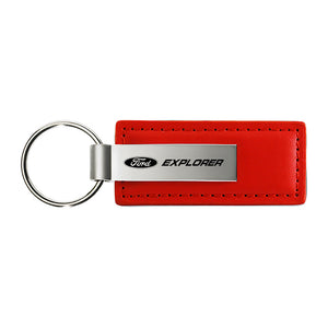 Ford Explorer Keychain & Keyring - Red Premium Leather