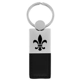 Fleur-De-Lis Keychain & Keyring - Duo Premium Black Leather