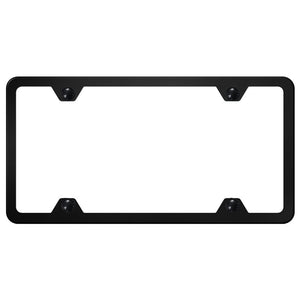 Blank License Plate Frame - 4 Hole Slimline Frame - Black Powder-Coated Stainless Steel