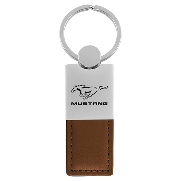 Ford Mustang Keychain & Keyring - Duo Premium Brown Leather