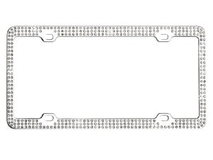 Chrome License Plate Frame with Crystals - 4 Hole