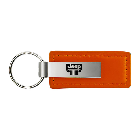 Jeep Grill Keychain & Keyring - Orange Premium Leather