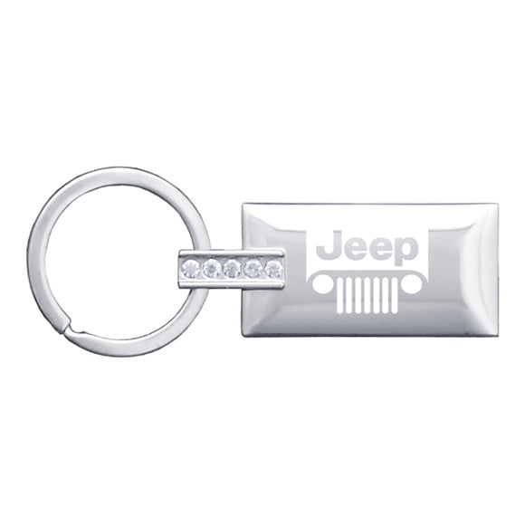 Jeep Grill Keychain & Keyring - Rectangle with Bling White