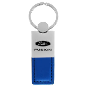 Ford Fusion Keychain & Keyring - Duo Premium Blue Leather