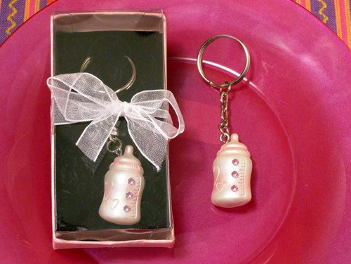 Baby Keychain & Keyring - Pink Baby Bottle