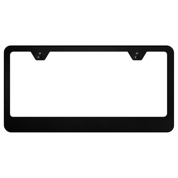 Blank License Plate Frame - 2 Hole Wide Bottom Frame - Black Powder-Coated Stainless Steel