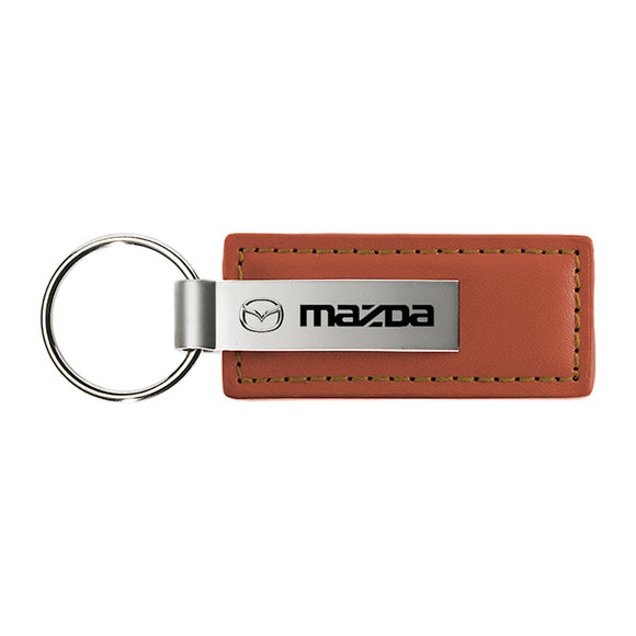 Mazda Keychain & Keyring - Brown Premium Leather