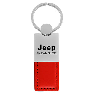 Jeep Wrangler Keychain & Keyring - Duo Premium Red Leather