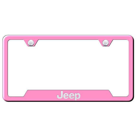 Jeep License Plate Frame - Laser Etched Cut-Out Frame - Pink