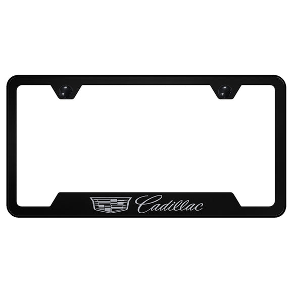 Cadillac (New Logo) License Plate Frame - Laser Etched Cut-Out Frame - Black