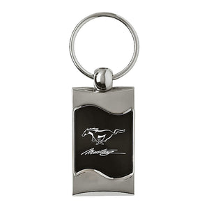 Ford Mustang in Script Keychain & Keyring - Black Wave