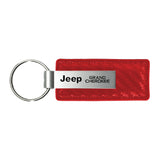 Jeep Grand Cherokee Keychain & Keyring - Red Carbon Fiber Texture Leather