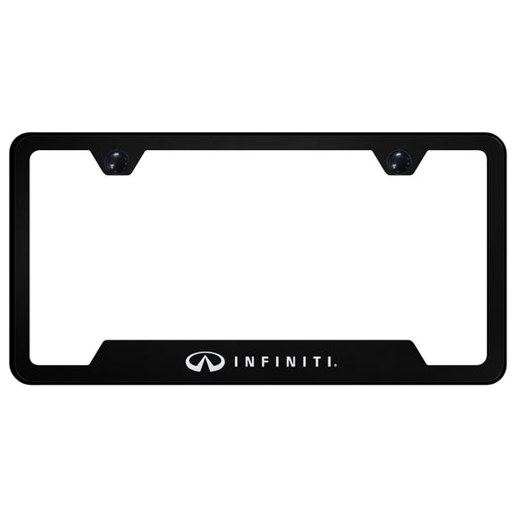Infiniti License Plate Frame - Laser Etched Cut-Out Frame - Black
