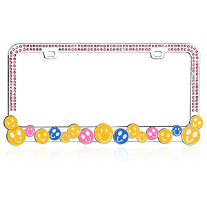 "Charming Multi-Colored ""HAPPY FACE"" with Pink Crystals Design Metal Frame with Crystals"