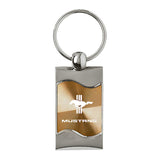 Ford Mustang Tri-Bar Keychain & Keyring - Gold Wave