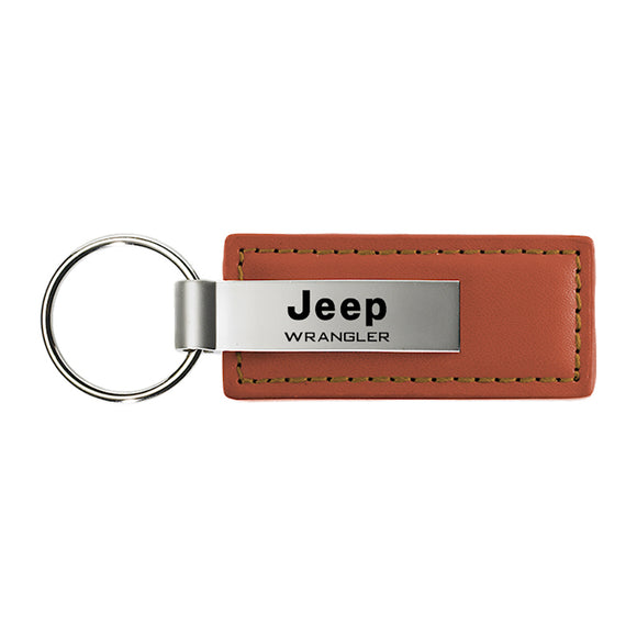 Jeep Wrangler Keychain & Keyring - Brown Premium Leather