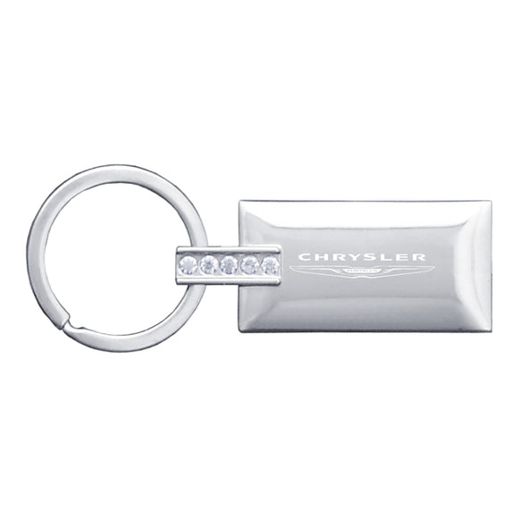 Chrysler Keychain & Keyring - Rectangle with Bling White