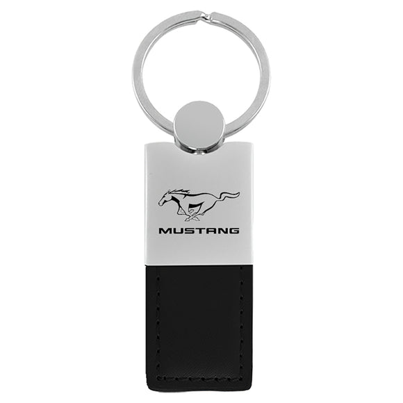 Ford Mustang Keychain & Keyring - Duo Premium Black Leather