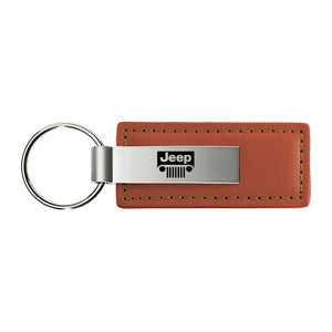 Jeep Grill Keychain & Keyring - Brown Premium Leather