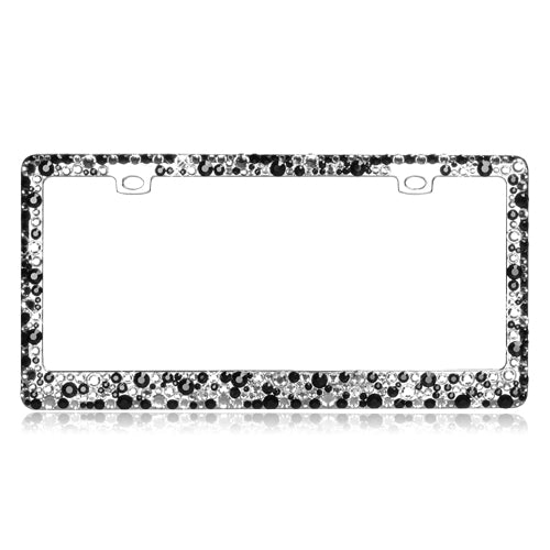 Multiple Sized T-Smoke and Black Color Crystals Chrome Metal Frame - 2 Hole