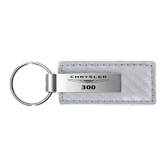 Chrysler 300 Keychain & Keyring - White Carbon Fiber Texture Leather
