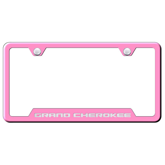 Jeep Grand Cherokee License Plate Frame - Laser Etched Cut-Out Frame - Pink