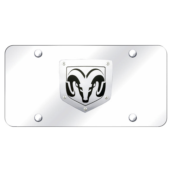 Dodge Ram (Laser Cut) Brushed Stainless on Chrome Plate