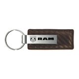 Dodge RAM Keychain & Keyring - Brown Carbon Fiber Texture Leather
