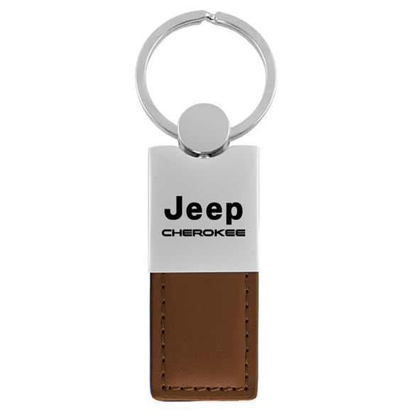 Jeep Cherokee Keychain & Keyring - Duo Premium Brown Leather