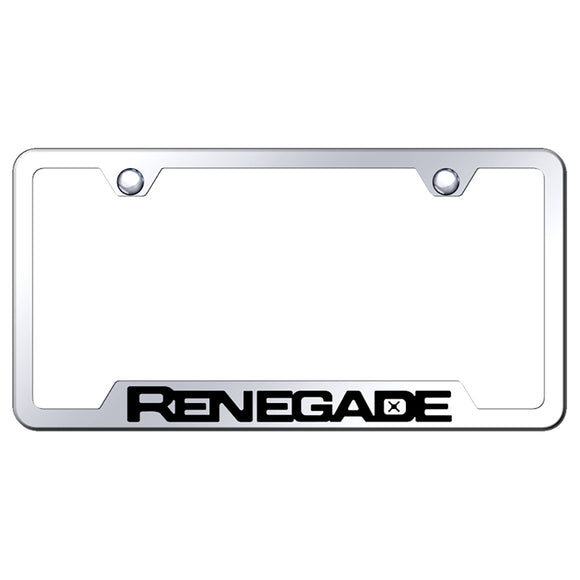 Jeep Renegade License Plate Frame - Laser Etched Cut-Out Frame - Mirrored