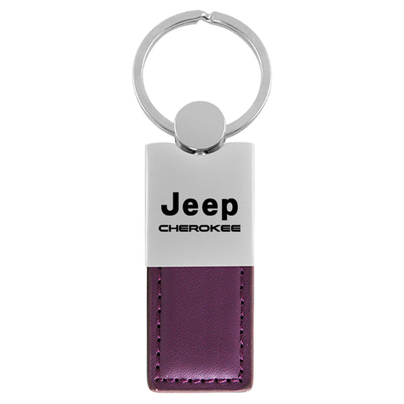 Jeep Cherokee Keychain & Keyring - Duo Premium Purple Leather