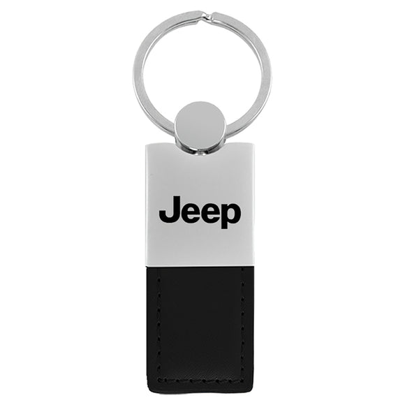 Jeep Keychain & Keyring - Duo Premium Black Leather