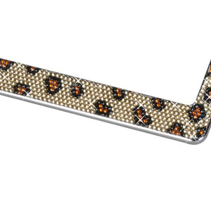 Leopard Pattern with Shining Brown and Black Crystals Chrome Metal Frame