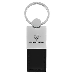 Ford Mustang 45th Anniversary Keychain & Keyring - Duo Premium Black Leather