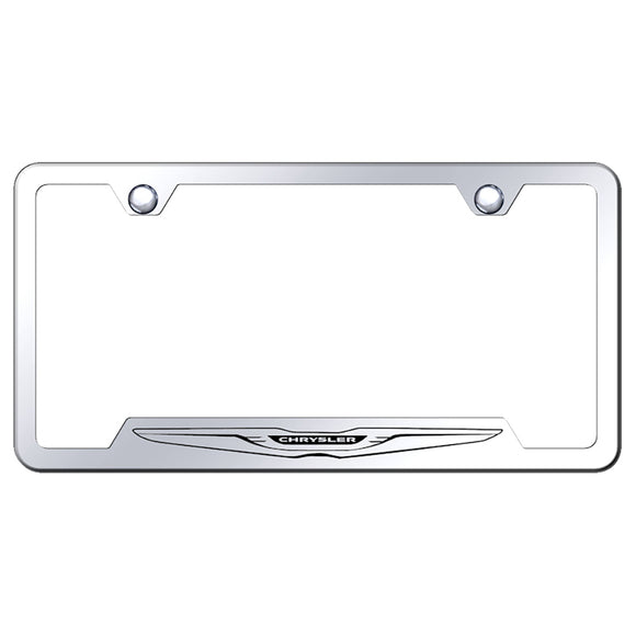 Chrysler Logo License Plate Frame - Laser Etched Cut-Out Frame - Stainless Steel