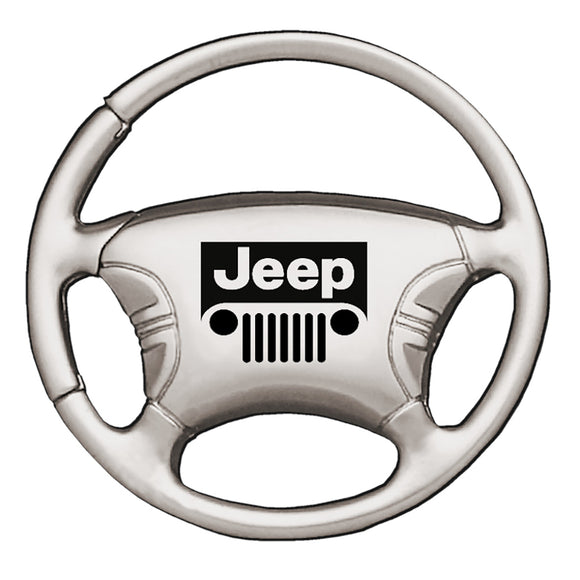 Jeep Grill Keychain & Keyring - Steering Wheel