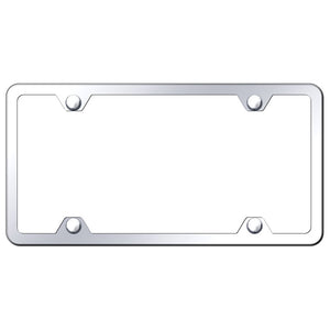 Blank License Plate Frame - 4 Hole Slimline Frame - Mirror Polished Stainless Steel