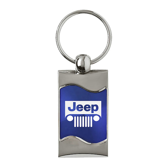 Jeep Grill Keychain & Keyring - Blue Wave