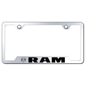 Dodge Ram License Plate Frame - Laser Etched Cut-Out Frame - Stainless Steel