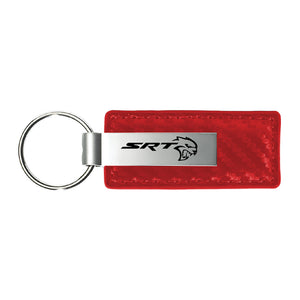 Dodge SRT Hell Cat Keychain & Keyring - Red Carbon Fiber Texture Leather