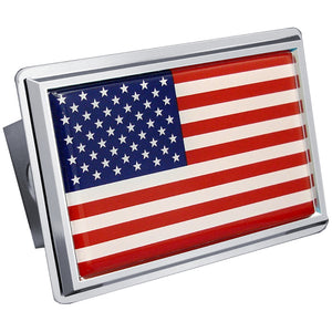 US Flag Chrome Trailer Hitch Plug