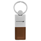 Dodge Stripe Keychain & Keyring - Duo Premium Brown Leather