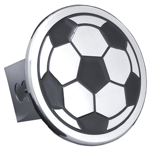 Soccer Ball Chrome Trailer Hitch Plug