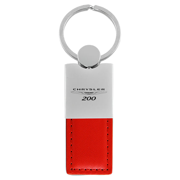 Chrysler 200 Keychain & Keyring - Duo Premium Red Leather