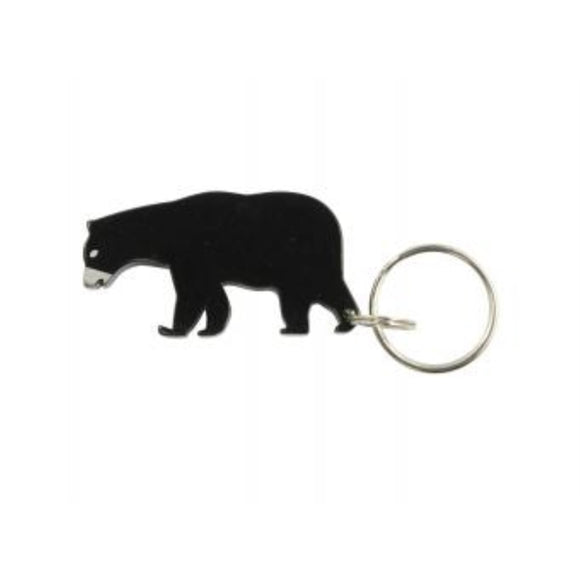 Bear Keychain & Keyring - Bottle Opener - Black