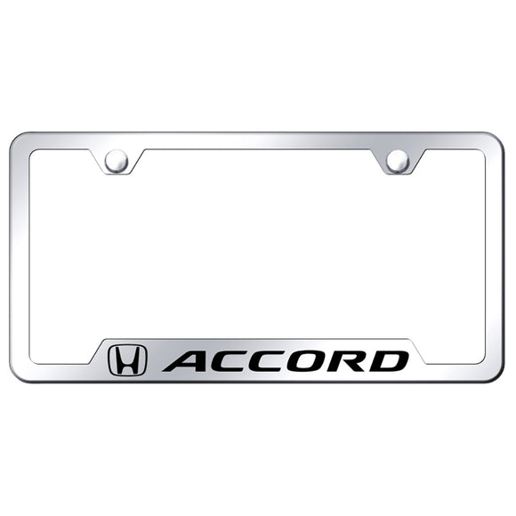 Honda Accord License Plate Frame - Laser Etched Cut-Out Frame - Stainless Steel