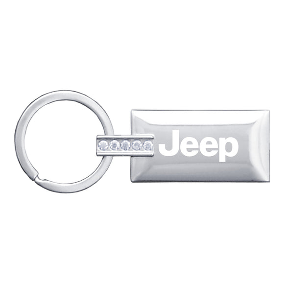 Jeep Keychain & Keyring - Rectangle with Bling White