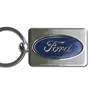 Ford Keychain & Keyring - Chrome Rectangle