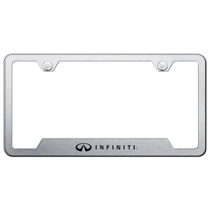 Infiniti License Plate Frame - Laser Etched Cut-Out Frame - Brushed