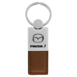 Mazda 3 Keychain & Keyring - Duo Premium Brown Leather